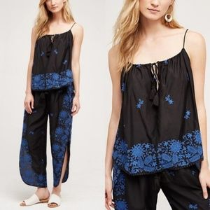 Anthro Nista TRYB Embroidered Swing Tank w Tassels